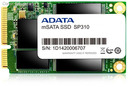 ADATA premier pro SP310 series SSD , 25nm , 128Gb , for mSATA mobile device/ultrabook or SRT mb with mSATA slot , JMicron JMF-667 processor , SATA6G , 50.95x30x4mm , compressible data (ATTo) read : 410mb/sec  random ioPS 4K write : 45000