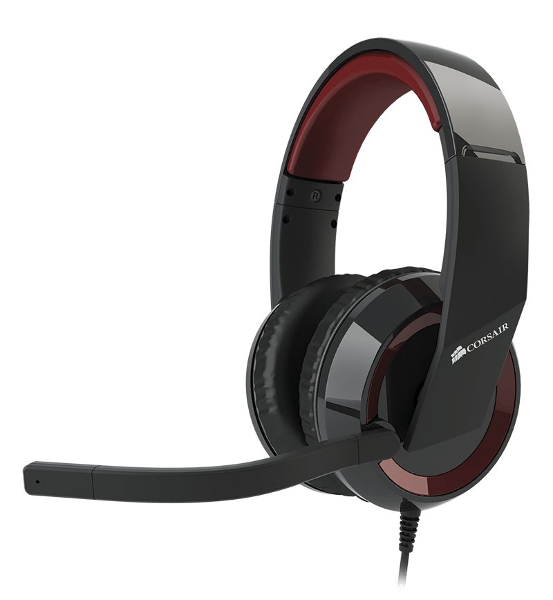 Corsair ca-9011121-eu raptor HS30 analog gaming headset  - 40mm neodymium drivers , with noise-filtering mic , in-line control with volumemute , closed-back design with circumaural noise isolating , padded adjustable headband with collapsing pivots for ea