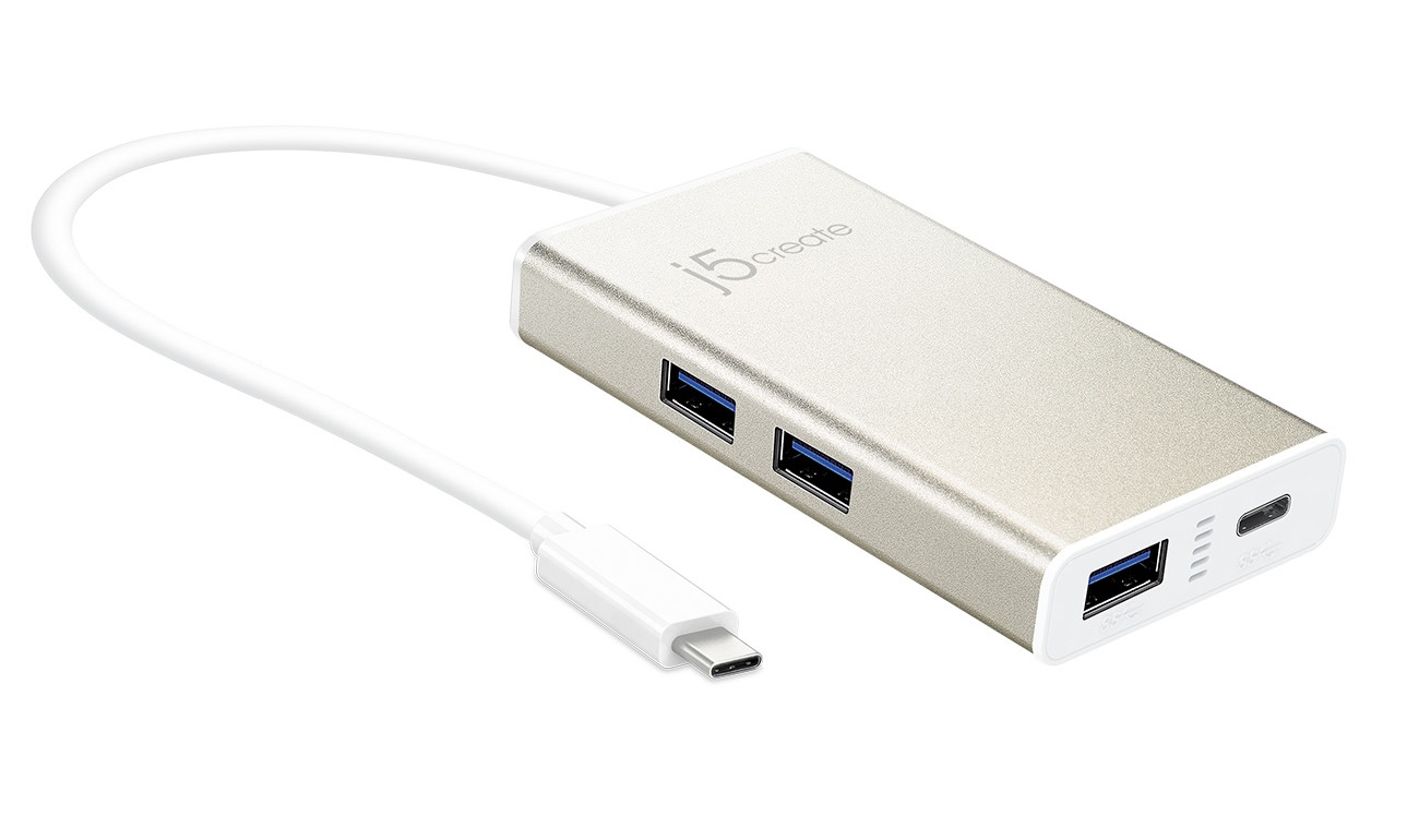 j5 create JCH346 usb type-C ( 5Gbps ) - 3x type-A ( usb3.1/3.0/2.0 )  1x type-C hub , ideal for desktop or notebook/new macbook , 51x15x98mm  250mm cable , aluminum housing , usb-powered , with AC-adapter ( DC to type-C ) , also work as type-C charger for