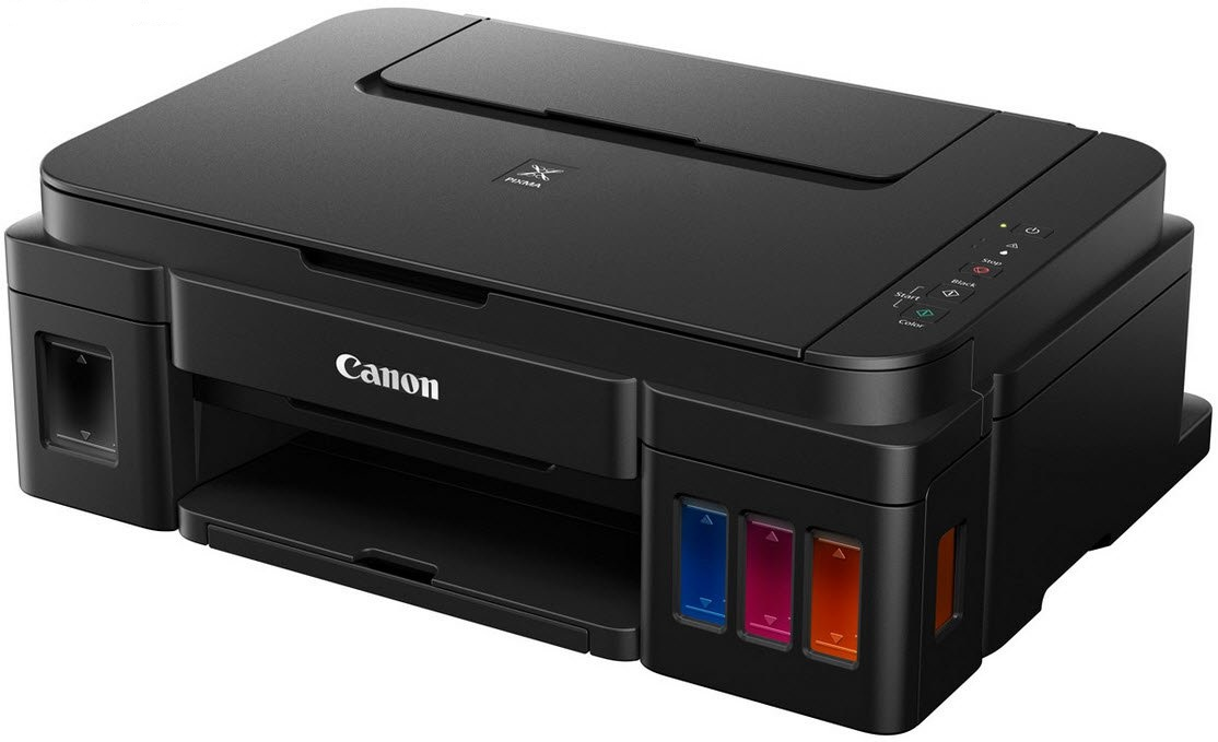 Canon pixma G2400 Oin1 ( printscancopycloud ) , wireless network ready - high yield single function printer , pigment black  dye colour inks with Integrated Ink tanks , 4 single ink  a4 , 4800x1200dpi  mono/color : 8.8/5 ipm , input : 100s rear tray , sca