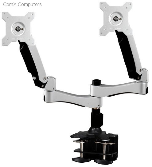 Aavara AC742 free style lcd stand - dual flip mount 2x lcd - clamp base - 2 independent swing arms , horizontal  vertical shift , /-90 swivelable , 110 ( 90-20 ) tilt angle adjustable , 360 rotation pivot for landscape or portrait , height adjustable , wi
