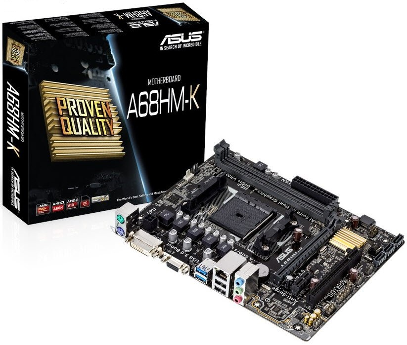 Asus A68HM-K - all-in-one FM2/FM2 motherboard , Network iControl , EFi mouse-controlled bios , Amd A68H chipset , 2x dual channel DDR3-2400(O.C)/2133/1866/1600/1333 , 4x SATA6G with raid 0/1/01/10 , on-CPU directX11 vga with tripple displays support ( DVi