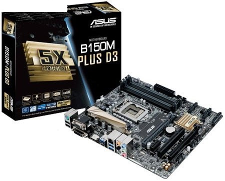 Asus B150M-PLus-D3 : all-in-one LGA1151(sKylake) mb , with 5X protection II ( DiGi VRM 6-phase digital power design  OVP  OCP  ESD guard  100 all high-quality solid capacitors  stainless steel back I/O port ) , FanExpert2 , with FBT SRT SCT RRT SBA ( no R