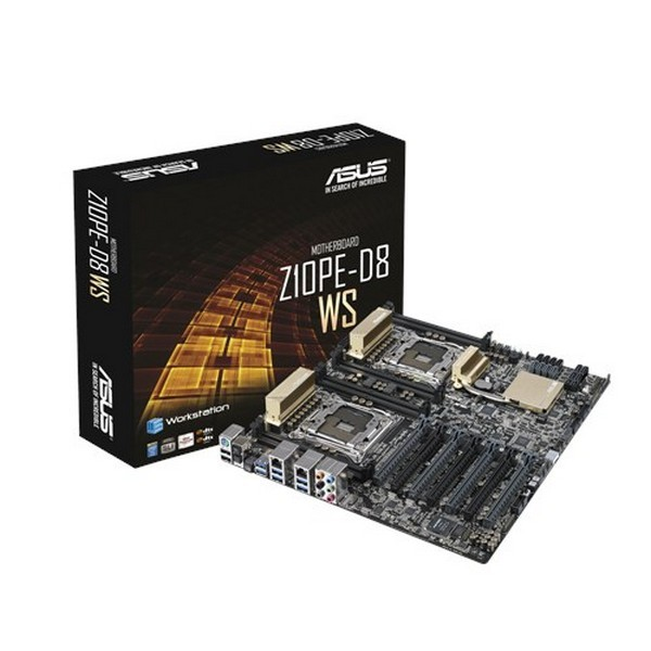 Asus Z10PE-D8 WS, dual socket LGA2011-v3 sever mb for xeon E5-26xxV3 series - intel C612 express chipset : 8 x quad channel DDR4-2133 memory ( non-ECC or ECC or ECC-Registered or LRDiMM ) upto 512Gb , 10x SATA6G  10Gb/sec M.2/NGFF type2242 SSD socket with
