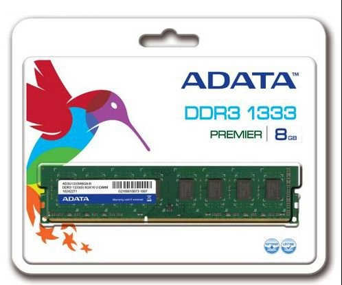 Adata Value 8Gb , ddr3-1333 ( PC3-10666 ) , CL9 , 1.6v - 240pin - lifetime warranty - Retail pack