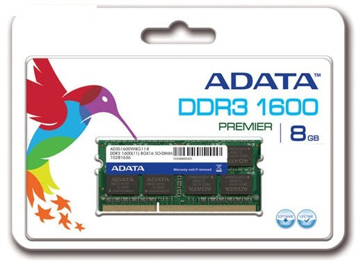 Adata AD3S1600W8G11-R , 8Gb so-dimm , 204 pin - DDR3-1600 , CL11 , 1.5V - lifetime warranty