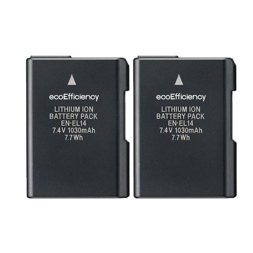 2 Replacement Nikon EN-EL14 Battery for Nikon D3100, D3200, D3300, D5100, D5200, D5300, D5500, DF, Coolpix P7000, P7100, P7700, P7800 DSLR Cameras