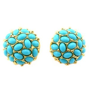 Kenneth Jay Lane Cabochon Cluster Button Clip Earrings In Turquoise