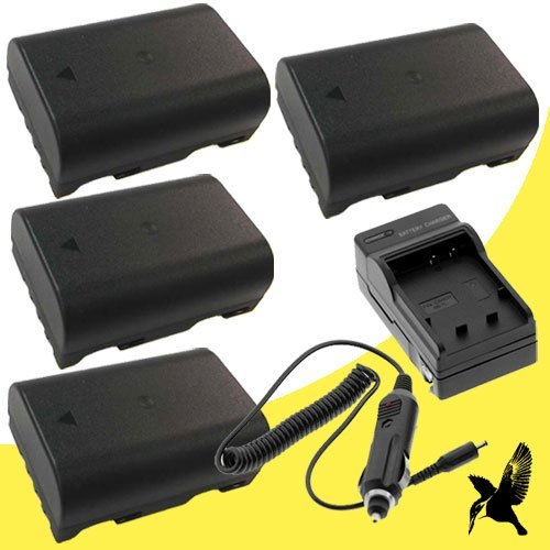 Four Halcyon 2200 mAH Lithium Ion Replacement Battery and Charger Kit for Panasonic Lumix DMC-GH3 Mirrorless Micro Four Thirds Digital Camera and Panasonic DMW-BLF19
