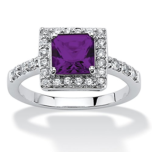 Princess-Cut Birthstone Halo Ring in Sterling Silver - February - Simulated Amethyst