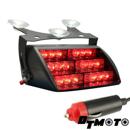 DT MOTO Red 18x LED Firefighter EMT Personal Emergency Vehicle Strobe Warning Dash Light - 1 unit