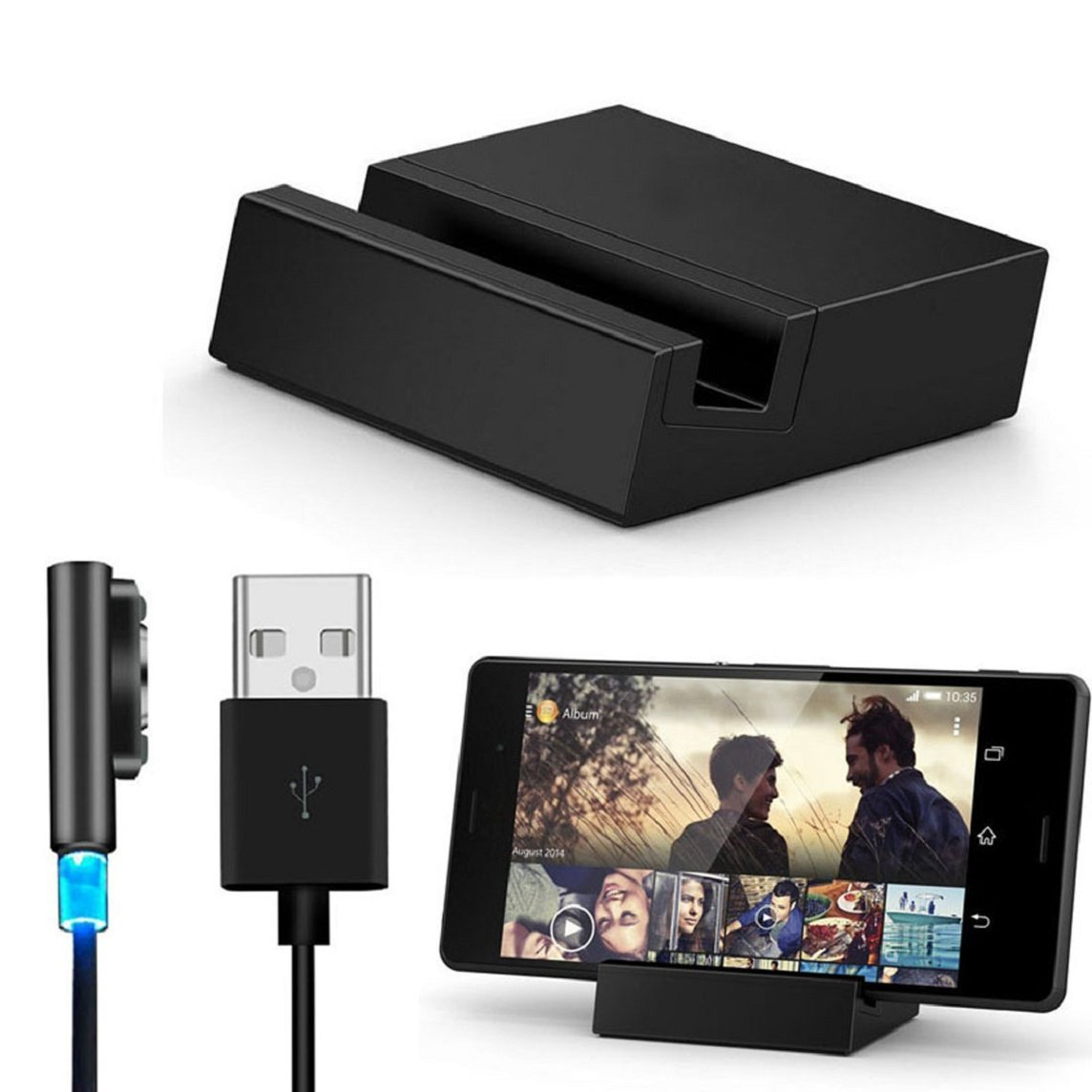 Bessky(TM) Black Friday Sale Cable Charger ,Metal Magnetic USB Cable + Desktop Dock Set for Sony Xperia Z3 / Z3 Compact
