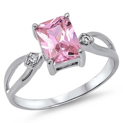 10MM .925 Sterling Silver Luxury Beautiful Elegant Square Princess Cut Pink cz with Clear cz Ring Size 7