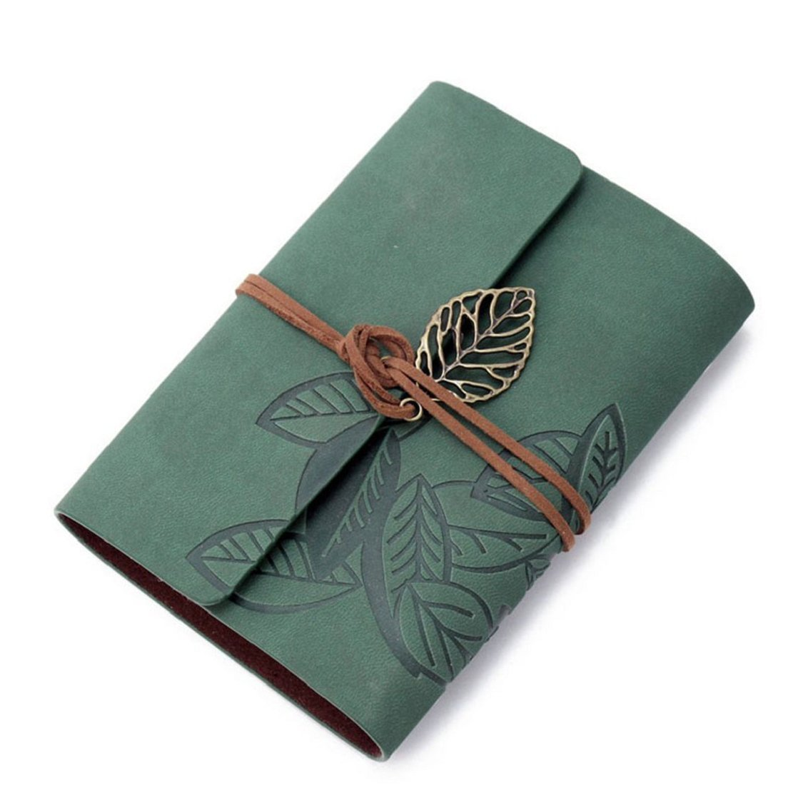 Towallmark(TM)Vintage Leaf Leather Cover Loose Leaf Blank Notebook Journal Diary Gift (Green)