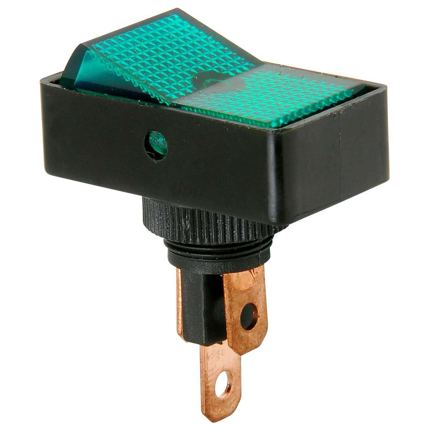 SPST Automotive Rocker Switch w/Green Illumination 12V