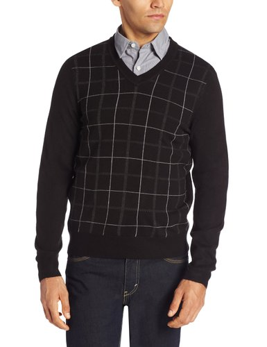 Dockers Mens Comfort Touch Gaberdine Plaid Long Sleeve V-Neck