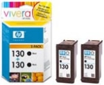 HP C9504HE No.130 Black Ink Cartridge 2-Pack
