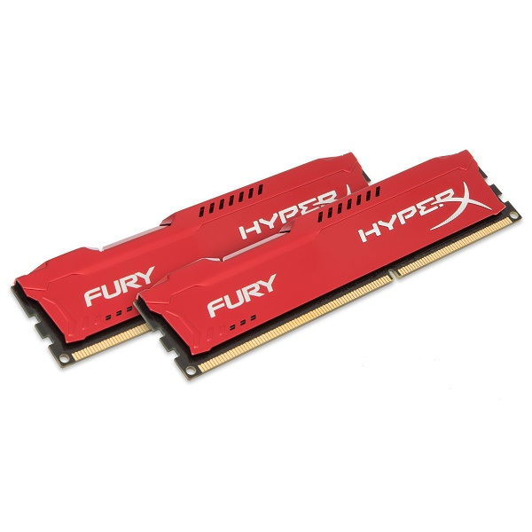 Kingston HyperX Fury DDR3 1600MHz CL10 Desktop Memory Module - 8GB Kit (2 x 4GB) (Red)