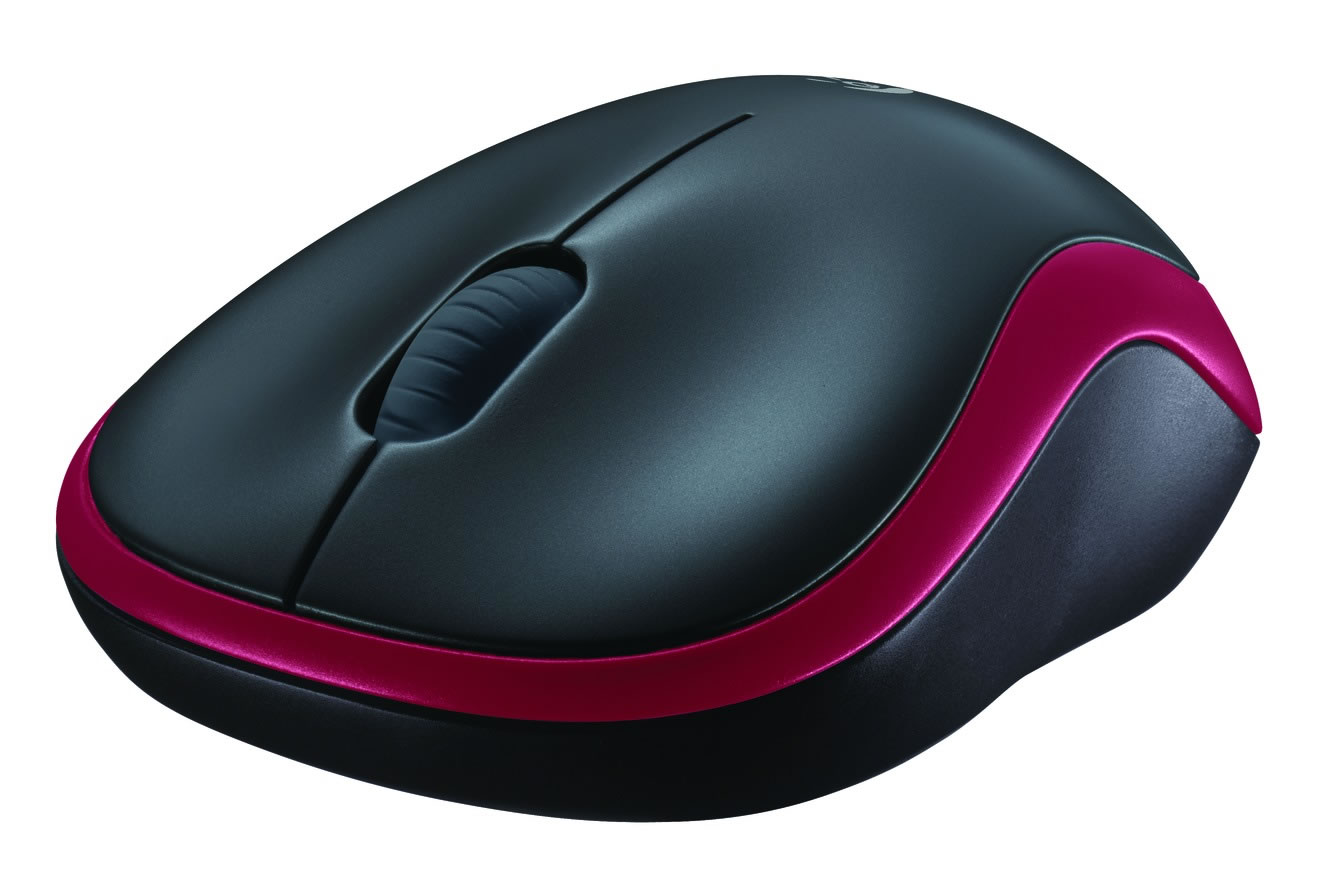 Logitech M185 Wireless Notebook Mouse - Black and Red