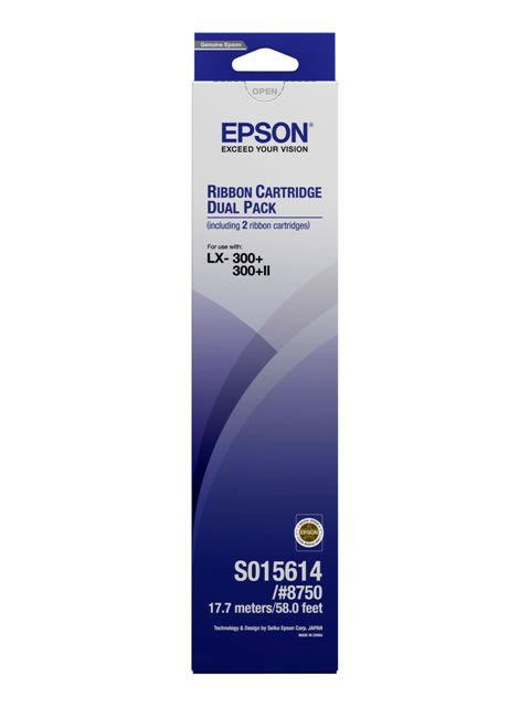 Epson s015614 black ribbon - twin pack - for epson LX300, 400, 800, 850 / FX80, 85, 800, 850, 870, 880