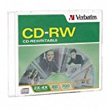 Verbatim 95117 700 MB 2x-4x 80 Minute Silver Rewritable Disc CD-RW, 1-Disc Slim Case