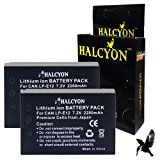 Two Halcyon 2200 mAH Lithium Ion Replacement Battery for Canon EOS M 18.0 MP Compact Systems Camera and Canon LP-E12