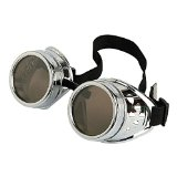 Leegoal New Sell Vintage Steampunk Goggles Glasses Welding Cyber Punk Gothic (Silver)