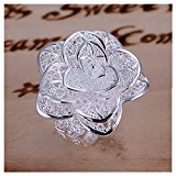 NYKKOLA New Fashion Jewelry 925 Style Beautiful Classic Rose Flower Sterling Silver Ring(Q)