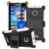Lumia 435 Case, iCoverCase Heavy Duty Armor Hybrid [Dual Layer] Stand Back Holster Cover Case for Microsoft Nokia Lumia 435 (White)