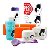 Kojie San Face & Body Complete Whitening 7pc Set -Kojic Acid Soap, Body Lightening Lotion with SPF25, Face Lightening Cream, Toner, and Cleansing Brush