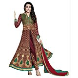 Lavri Women's Latest Indian Georgette Embroidery Semi-Stitched Bollywood Wedding Anarkali Salwar Suit Free Size Black