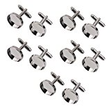 10Pcs 16mm Round Blank Settings Base Pad Cuff Links DIY Cufflinks Gun Black