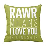 SIXSTARS 18X18 Inch Square Cotton Throw Pillow Case Decor Cushion Covers Dinosaur Rawr Pillowcase In Blue With Grey Chevron