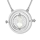 Harry Potter Time Turner Hourglass Pendant Necklace for Women Girl - Silver Colour Jewelry