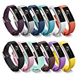 BeneStellar Fitbit Alta Bands with Steel Buckle, Newest Silicone Bracelet Strap Replacement Small and Large Bands for Fitbit Alta HR and Alta (Metal Clasp), Pack of 12