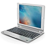 New iPad 2017 Keyboard Case, Snugg Apple iPad Air & New 9.7 iPad Bluetooth Keyboard Case Cover [Smart Backlit] Folio, Wireless Auto Sleep/Wake - Silver