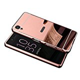 Sony Xperia XA Case, Silverback(TM) Luxury Metal Aluminum Bumper Detachable + Mirror Hard Back 2 in 1 Cover Ultra Thin Frame for Sony Xperia XA -RoseGold