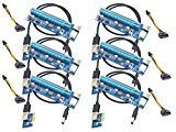 Panto 6-Pin Powered PCI-E PCI Express Riser - VER 006C - 1X to 16X PCIE USB 3.0 Adapter Card - With USB Extension Cable - GPU Graphic Card Crypto Currency Mining (6 pack)