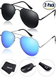 Young4us Aviator Sunglasses Military Style, Mirror Polarized UV 400 Protection Men, Black/Blue, 2 Piece