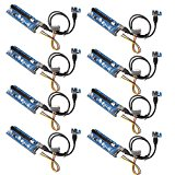 SHARPALIN 8Pack V006 PCI-E 1x to 16x Powered Riser Adapter Card Mixed colors