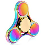 Kekilo Magic Rainbow Fidget Spinner Hand Toy, 4-6 Mins Hand Spinner EDC Fidget Toy, Titanium Alloy Stress Reducer High Speed Finger Toys for Focus, Killing Time, Best for Birthday (S1 Rainbow)