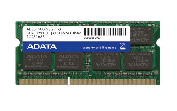 ADATA 8GB DDR3 1600 SODIMM SINGLE TRAY