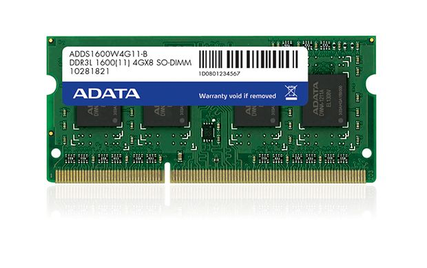 ADATA 4GB DDR3 1600 SODIMM LOW VOLTAGE SINGLE TRA