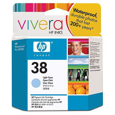 HP  38 LIGHT CYAN PIGMENT INK CARTRIDGE WITH VIVERA INK
