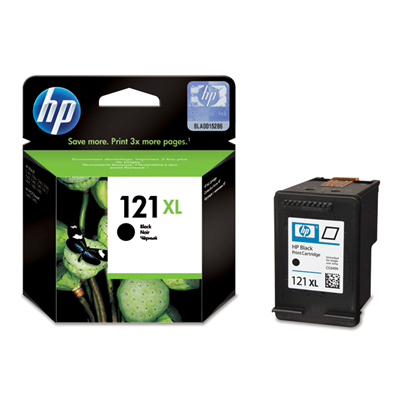 HP 121XL Black Ink Cart with Vivera Ink; up to 60