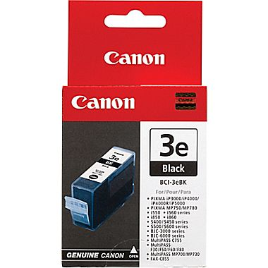 canon bci-3eBK black ink - for ink-tank BC-30  ip3000, ip4000, ip5000  mp700, mp730, mp750, mp760, mp780, mpc400, mpc600f  mpc100  i550, i560, i6500, i850, i865  s400, s450, s4500, s500, s520, s530d, s600, s630, s6300, s750  bjc-3000, bjc-6000, bjc-6100,
