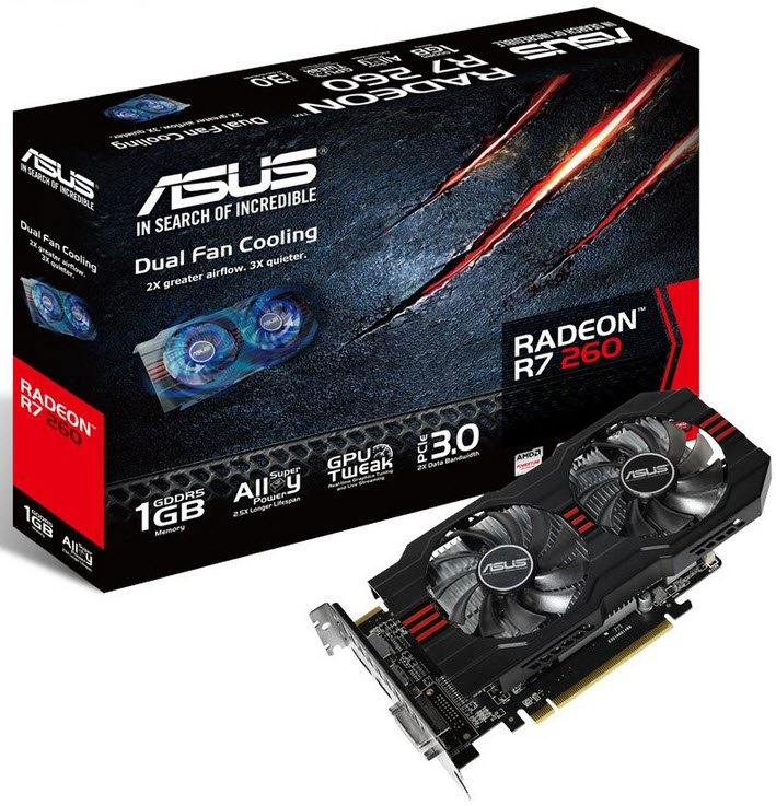 Asus R7260-1GD5 - r7-260 - TrueAudio HDMi with dedicated PAP ( Programmable Audio Pipeline ) to reduce CPU load , with dual fan , 28nm , 1Gb 128bit 4 channel DDR5 , 16RoPs , 96Gb/sec memory bandwidth  768 stream processors , 48 texture unit , core/memory