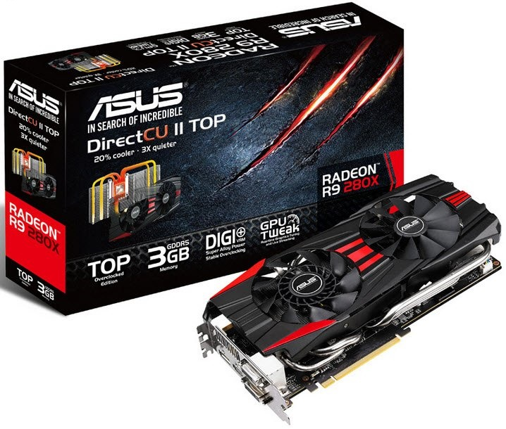 Asus R9280X-DC2T-3GD5 DirectCu ii edition with dual fan  super alloy capacitor - 28nm , 3Gb 384bit 4 channel DDR5 , 32RoPs , 288Gb/sec memory transfer  4100 GigaFLoPs,  128GT/s texture fill rate. , 2048 stream processors , 128 texture unit , core clock :