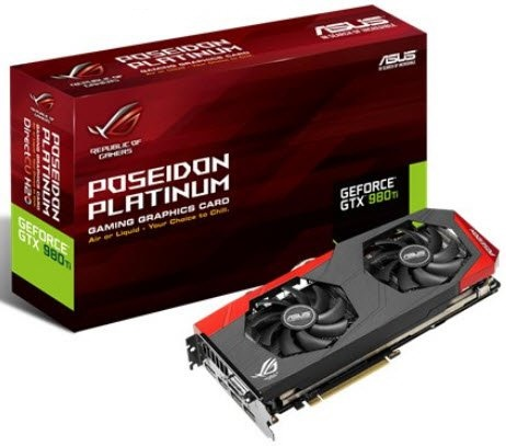 Asus gtx980Ti Poseidon Platinum : Poseidon GTX980Ti-P-6GD5 , hybrid-cooling with air-cool or built-in watercooling  DirectCU 3(iii) with dual fan design  back-sided heatsink  10mm copper heatpipes , support 0dB silent mode , DIGI VRM with 10-phase Super A