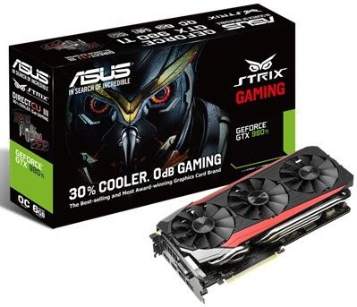 Asus Strix-GTX980Ti-DC3oC-6GD5 , DirectCU 3(iii) with tripple fan design  back-sided heatsink  10mm copper heatpipes , support 0dB silent mode , DIGI VRM with 10-phase Super Alloy Power ii , geforce GTX980Ti , 28nm , 3-way SLi support , Pci-E 3.0 16x , su